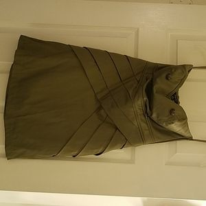 Army green strapless dress